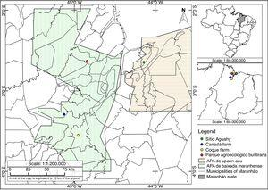 Study areas and sampling locations in the Maranhão state, Brazil.