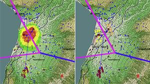 Possible spreading pathways from the identified spreading centre are mapped in the invaded region on the basis of the algorithm DBSCAN. The pink and blue lines represent the Voronoi tessellation of the space after the Kmeans analysis for three clusters (checked with Silhouette method, see the text). The dashed arrows connect the centroid of the clusters and should give suggestions about the axes of diffusion. (a) Results of the GP analysis. (b) Representation of the recorded observations (infection cases) on the territory with the representatives of the different clusters highlighted with different colours. The blue points correspond to uninfected apiaries. ×250,000.