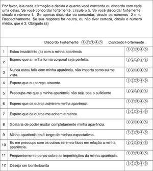 Versão Brasileira da Escala de Perfeccionismo para Aparência Física Fonte: elaborado pelos autores.