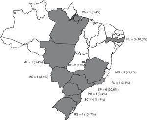 Distribuição geográfica dos grupos de pesquisa em PEE no Brasil. Legenda: Os estados em branco não apresentaram GP em PEE no DGPB.