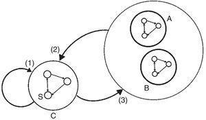 Sinergias, feedbacks y spillovers. Las flechas indican la dirección de los insumos de producción. Fuente: Garbellini y Wirkierman (2014).