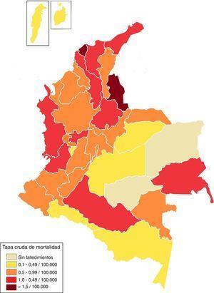 Tasas de mortalidad brutas de la población pediátrica de 2000 a 2009, por división política.