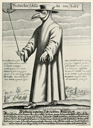 """Paul Fürst, Der Doctor Schnabel von Rom. 1656. Grabado en cobre del """"Doctor de la Peste"""", en Roma. Imagen tomada de Wikipedia, The plague doctor. Imagen de dominio público."""