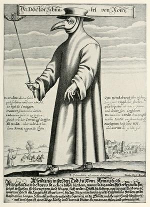 "Paul Fürst, Der Doctor Schnabel von Rom. 1656. Copper engraving of ""The Plague Doctor"", in Rome. Image taken from Wikipedia, The plague doctor. Public domain image."