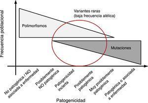 Relación entre la frecuencia de una variante y su posible patogenicidad. En general las variantes con alta frecuencia alélica poblacional (polimorfismo) tienen baja probabilidad de ser patogénicas&#59; mientras que variantes no presentes en la población general tienen alta probabilidad de ser patogénicas. Sin embargo, en la parte media del espectro existe un solapamiento entre variantes raras (con baja frecuencia alélica) que pueden ser causa de enfermedad o por el contrario no ser patogénicas.