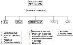 Mecanismos mal adaptativos del sistema neurohormonal en falla.