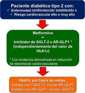 Terapia antidiabética recomendada en pacientes con diabetes mellitus 2 con enfermedad cardiovascular establecida o riesgo cardiovascular alto o muy alto.