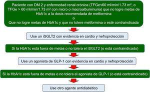 Recomendaciones para el uso de inhibidores de SGLT-2 y AR-GLP1 en diabéticos tipo 2 con enfermedad renal diabética que no está en metas de HbA1c. Adaptada de Sarafidis P, et al. Nephrol Dial Transplant. 2019;34:208-3076.