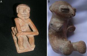 A: cerámica del altiplano nariñense colombiano de la cultura Capulí, con amputación del antebrazo derecho. B: cerámica de la cultura Sinú, sin manos ni antebrazos.