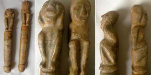 Diferentes tomas de 2 desvirgadores en mármol, pertenecientes a la cultura del altiplano nariñense.
