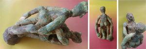 Mujer de espaldas con muslos separados y hombre con pene erecto en la vulva. Cultura Malagana.