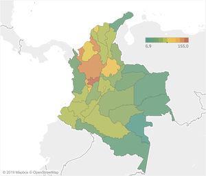 Prevalencia de la enfermedad intestinal inflamatoria entre los años 2012 y 2016 por departamentos en Colombia. La prevalencia se calcula con la población media del periodo como denominador×100.000 habitantes.