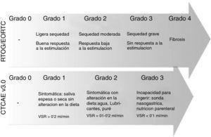 Gravedad de la xerostomía según las escalas RTOG/EORTC y CTCAE v3.0. VSR=Volumen salival en reposo. Adaptación de https://www.rtog.org y http://ctep.cancer.gov.41,42