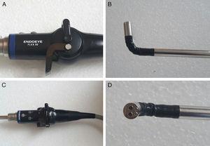 Equipo Endoeye Flex 3D: A y C. Cabezal del endoscopio: comandos que permiten angulación de la cámara en plano horizontal y vertical. B y D. Lente flexible: movimiento hasta 100 grados en los 4 planos.