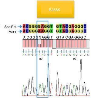 Mutación encontrada en 2 pacientes (PM11, PM40).
