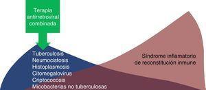 Impacto de la terapia antirretroviral combinada en las infecciones oportunistas y el síndrome inflamatorio de reconstitución inmune.