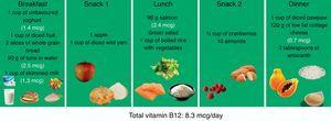 Diet for patients with vitamin B12 deficiency anaemia.