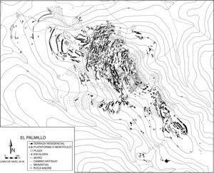 El sitio El Palmillo tenía más de mil terrazas residenciales construidas en la cima del cerro. El plano ilustra el carácter compacto de la organización de las casas y la fuerte interconexión entre las unidades domésticas.