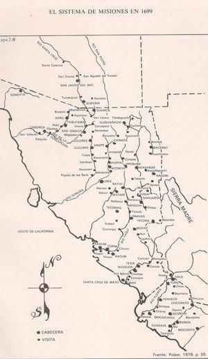 Mapa mostrando las distintas misiones fundadas por los jesuitas entre los siglos XVII y XVIII (tomado de Poulzer, 1972: 35).
