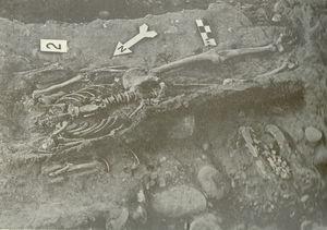 El entierro número 2, que contenía los restos atribuidos a Eusebio Francisco Kino, excavados por el Mtro. Arturo Romano en 1966 (tomado de Romano y Jaén, 2012).