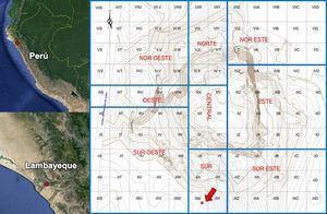 Ubicación política y sectorización del sitio Huaca Ventarrón con la ubicación de la muestra (Alva, 2012, p. 36).