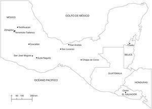 Localización del sitio olmeca de San Lorenzo y otros sitios con evidencia de Capsicum sp.