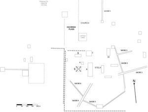 Mapa del sitio arqueológico Aké (modificado de Roys y Shook, 1966: 3, fig. 2).