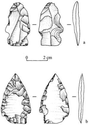 Bifaciales en pedernal. a) Pieza bifacial con muescas, presenta huellas térmicas, Estructura 2; b) pieza bifacial con retoque invasivo, Estructura 13 (dibujos: M. A. Espinosa).