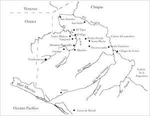 Mapa del Oeste de Chiapas con ubicación de los principales sitios arqueológicos de la región.