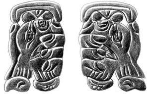 (a) T714 TZAK as it occurs on the underside of Yaxchilán Lintel 25. Note that it has not been mirrored along with the rest of the text in which it occurs. (b) The mirrored form would presumably look like this version of T714, which Graham and von Euw (1977: 56, glyph block B1) include in their drawing that re-orients the mirrored text on the monument's underside in the standard left-to-right reading order. Drawn after Moisés Aguirre based on the Graham and von Euw's drawing (1977: 55-56, glyph block B1).