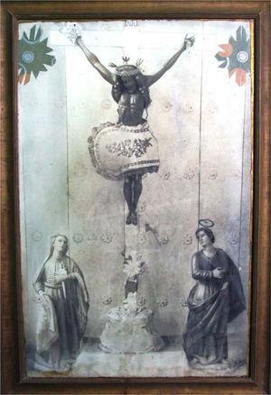 El Cristo de Uxmal, la Dolorosa y San Juan. Cuadro localizado al interior de la capilla de San Bernardo en el barrio del mismo nombre en Muna, Yucatán.