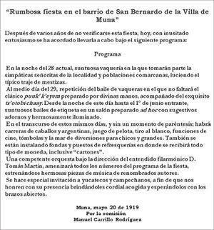 Nota periodística anunciando la fiesta en honor al Cristo de Uxmal La Revista de Yucatán, Mérida 25 de mayo de 1919.