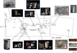 Planta de las ofrendas de urnas de la fase Chiapa III-B o Escalera Tardía, que se ubicaron en la plaza al pie del Montículo 11 (Dibujo realizado por Áyax Moreno).