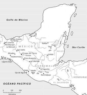 Mapa de Mesoamérica indicando los sitios mencionados en el texto.