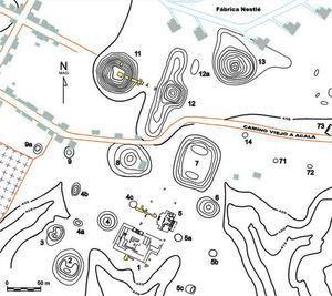 Plano de la parte sur del centro ceremonial de Chiapa de Corzo que muestra las excavaciones de 2008 y 2010.