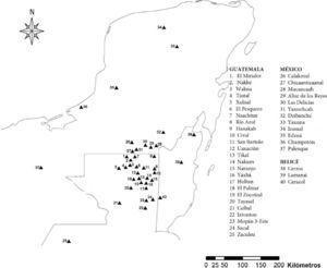 Ubicación de algunos asentamientos a) donde se ha reportado la presencia de acrópolis triádicas o b) que posiblemente contengan una acrópolis triádica en su traza urbana.