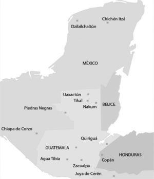 Ubicación de los temascales analizados en el área maya. Realizado por la autora.
