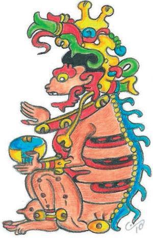 Ah P'uuch, dios maya de la muerte, en una de sus representaciones más conocidas. Dibujo de Lizbeth Rodríguez, basado en la imagen de la página 13 del Códice de Dresde.