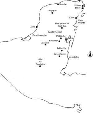 Mapa de la región con la ubicación de los sitios analizados. Dibujó: Javier Romero M.