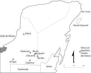 Mapa general de la Península de Yucatán con algunos de los sitios mencionados en el texto. Elaborado por la autora.