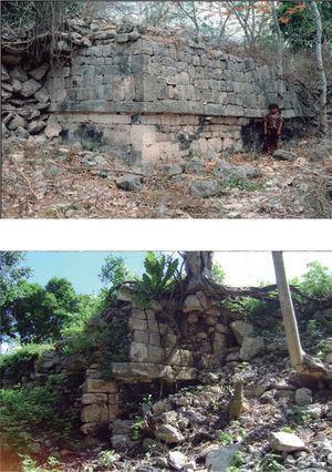Muro poniente del cuerpo inferior de la estructura 1. Arriba: estado de conservación en la década de 1980. Foto: Edward Kurjack. Abajo: estado actual después de colapsar. Foto: Miguel Covarrubias.