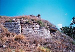 Esquina suroeste del cuerpo superior de la estructura 2. Foto: Miguel Covarrubias.