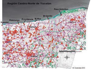 Mapa de ubicación de sitios costeros asociados a Dzilam González. Archivo: Proyecto Arqueológico Dzilam González, Yucatán.