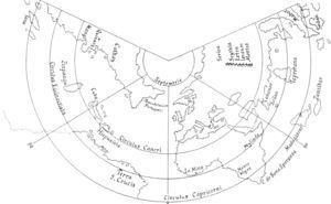 Croquis del mapamundi diseñado por Giovanni Matteo Contarini y grabado e impreso por Francesco Roselli en 1506.