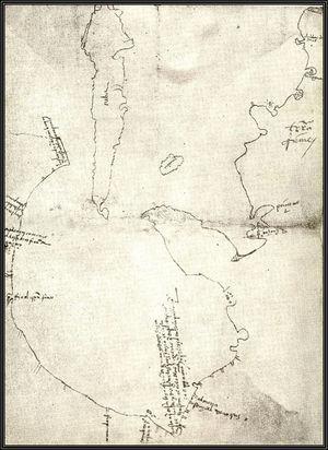 Mapa del Golfo de México elaborado a partir de los hallazgos de la expedición de 1519, comandada por Alonso Álvarez Pineda.