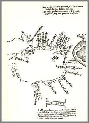 Mapa del Golfo de México publicado con la Segunda y Tercera Cartas de Relación de Hernán Cortés en Nuremberg en 1524.