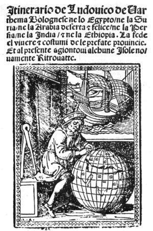 Portada del Itinerario de Ludovico de Varthema en la edición de Zorzi di Rusconi, impresa en Venecia en 1522.