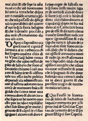 Página final del impreso del Itinerario de larmata del Re catholico in India uerso la Isola de Iuchathan… en la edición de Zorzi di Rusconi, impresa en Venecia el año de 1520.