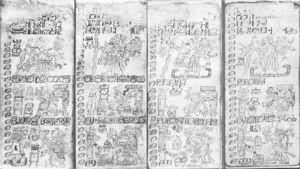 Yearbearer ceremonies on pages 25-28 of the Dresden Codex. After Förstemann (1880)