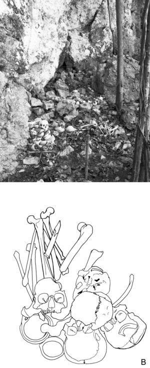 (a) General view of the Mensabäk rock-shelter (b) drawing, of main concentration of human bones, which are regularly moved within the shrine during visits (drawing by M. Sánchez)